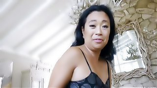 Lucky son gets a fuck lessons from Asian stepmom
