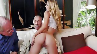 Molly Maes hottest deep throat blowjob into double blowjob for 2 old mature man