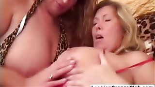 Blonde big tit granny gets toyed by her lesbian lover