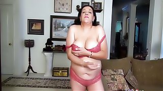 A Busty Chubby Mature Solo Masturbation Wanking Her Tight Mature Box With Her Fingers