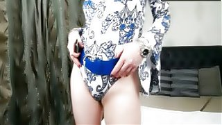 Horny blonde mature woman teases
