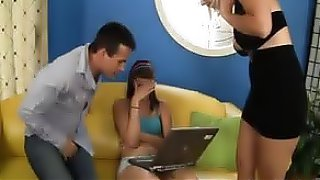 Brunette teen babysitter has a wild threesome with the horny couple she works for