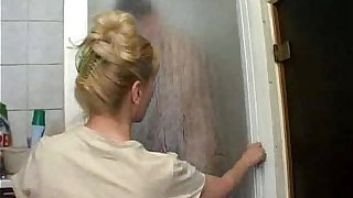 Charming Russian mother fu.king with her son in bathroom