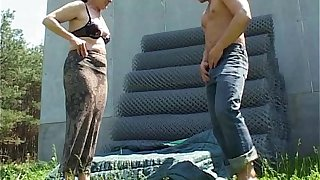 Silly Farmer Got Lucky Fucking A Mature Outdoor