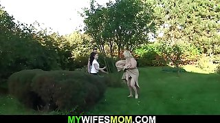Her busty blonde old mom and husband fucking on the backyard