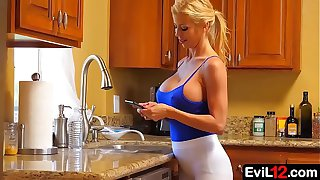 Amazing busty blonde stepmom sucks and fucks with stepson
