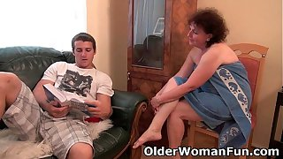Chubby granny gets drilled on the couch