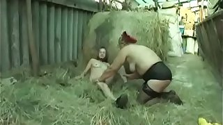 Old Granny Gets Strapon Fucked By A Chubby Lesbian Mature