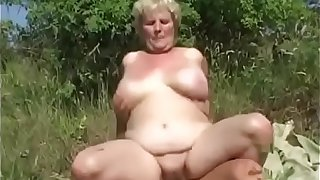 Chubby Granny Blonde With Huge Tits And Her Young Lover Fuck Outdoor