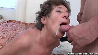 Hairy granny loves anal sex