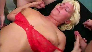 Granny gangbang with anal fucking