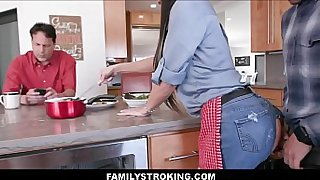 Tattooed Big Tits Brunette MILF Step Mom Ripped Jeans Fuck By Son Next To Dad In Family Kitchen