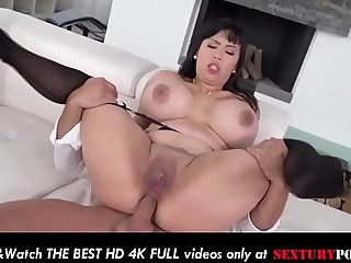 Step mother MILF takes anal and mouthful of cum with her stockings on!