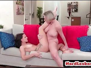 Busty milf licking a sexy lesbian  Dee Williams &_ Evelin Stone